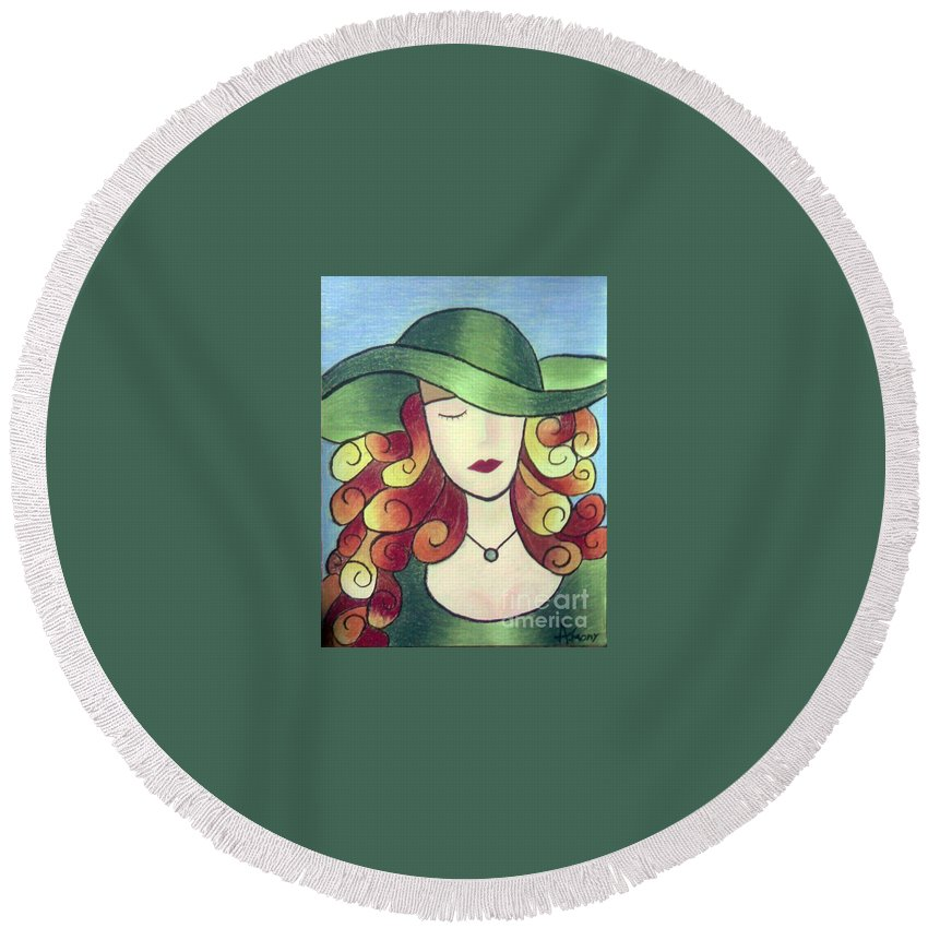 Portrait Round Beach Towel featuring the painting Aristocratic Lady by Eman Allam