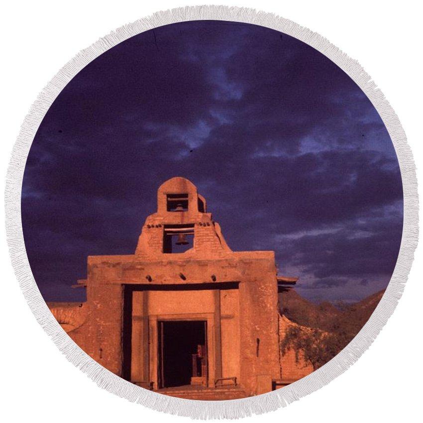 Arizona Adobe Mission Church 1939 Round Beach Towel featuring the photograph Arizona Adobe Mission Church 1939-2016 by David Lee Guss