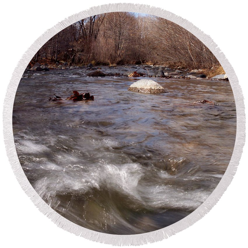 Creek Round Beach Towel featuring the photograph Arizona Creek by Scott Sawyer