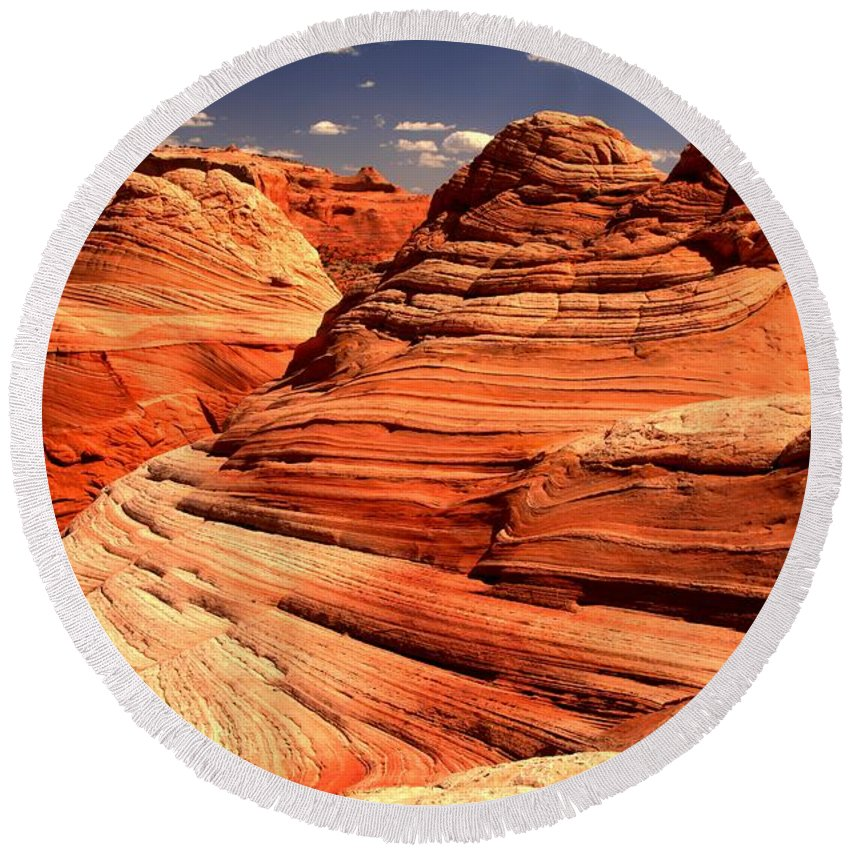 Coyote Buttes Round Beach Towel featuring the photograph Arizona Desert Landscape by Adam Jewell