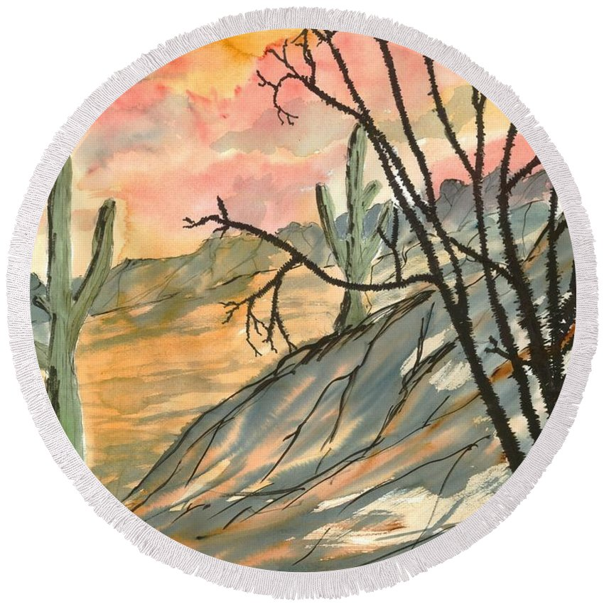 Drawing Round Beach Towel featuring the painting Arizona Evening Southwestern Landscape Painting Poster Print by Derek Mccrea