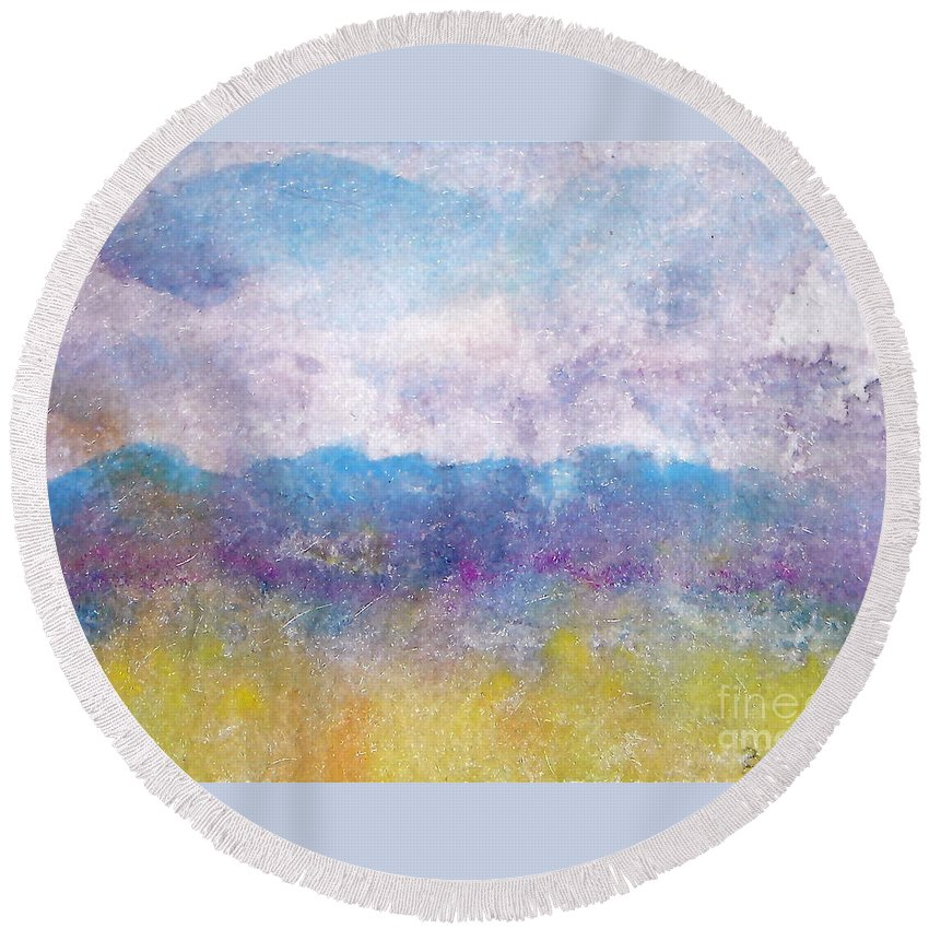 Abstract Round Beach Towel featuring the painting Arizona Impressions by Jan Bennicoff