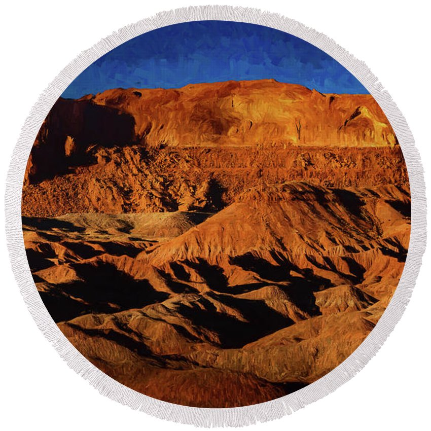 Mesa Round Beach Towel featuring the painting Arizona Mesa 4 by Mike Penney