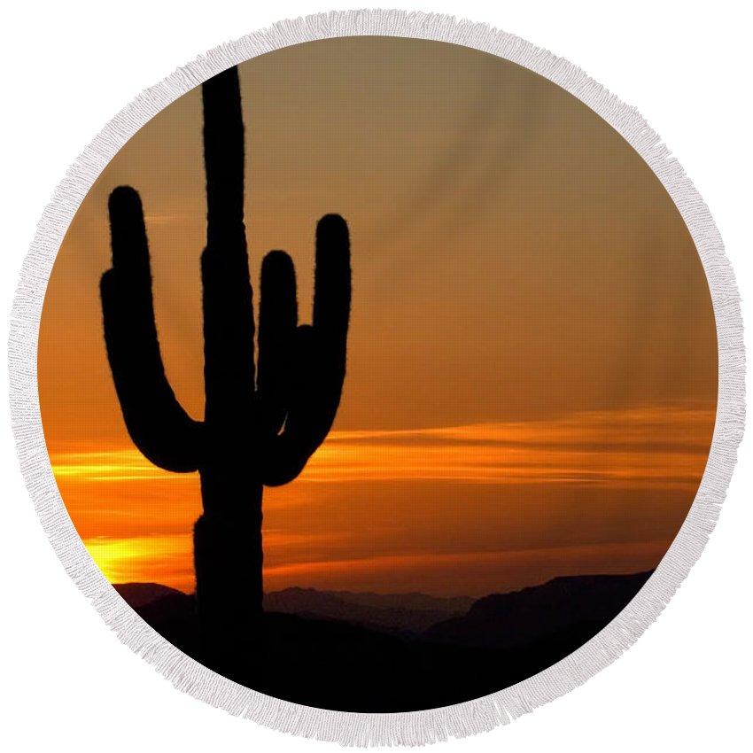 Sunrise Round Beach Towel featuring the photograph Arizona Sunset 3 by Bob Christopher