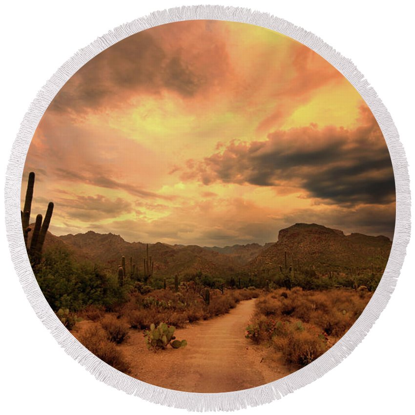 Arizona Round Beach Towel featuring the photograph Arizona Sunset by Heather Strong