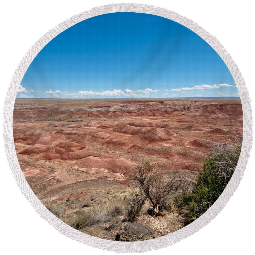 Photography Round Beach Towel featuring the photograph Arizona's Painted Desert by Robert J Caputo