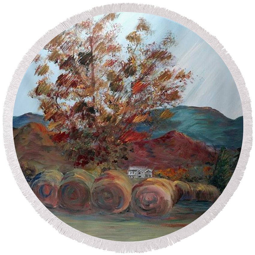 Autumn Round Beach Towel featuring the painting Arkansas Autumn by Nadine Rippelmeyer