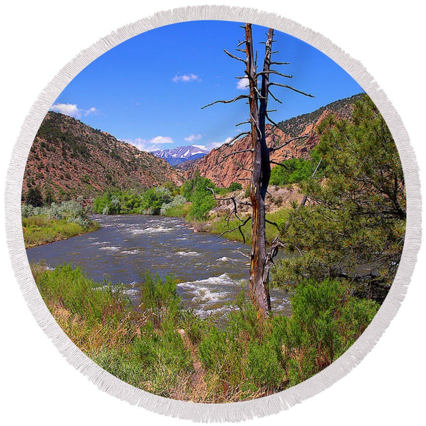 Colorado Round Beach Towel featuring the photograph Arkansas River Near Salada Colorado by Rich Walter