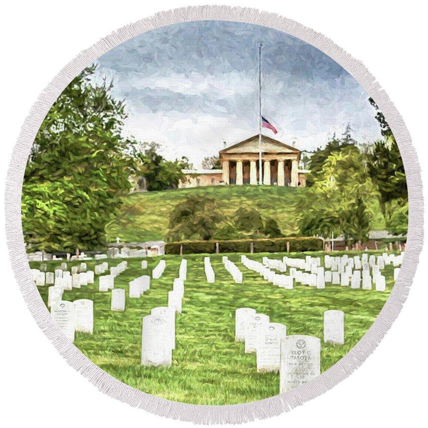 Arlington National Cemetery United States Military Arlington County Round Beach Towel featuring the photograph Arlington House Half Mast by Michael Rankin