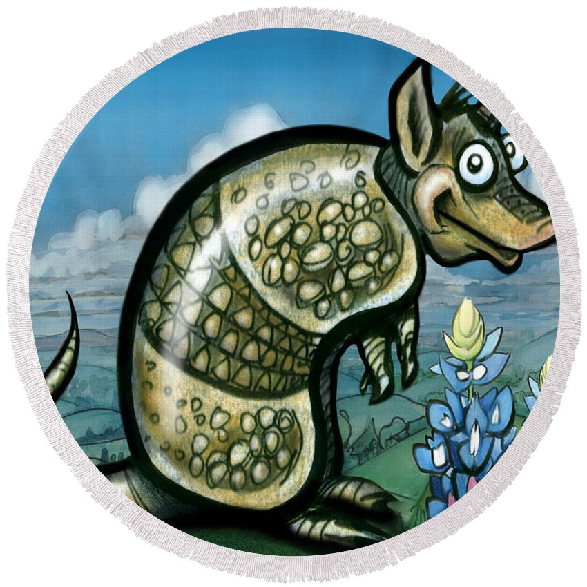 Armadillo Round Beach Towel featuring the painting Armadillo N Bluebonnets by Kevin Middleton