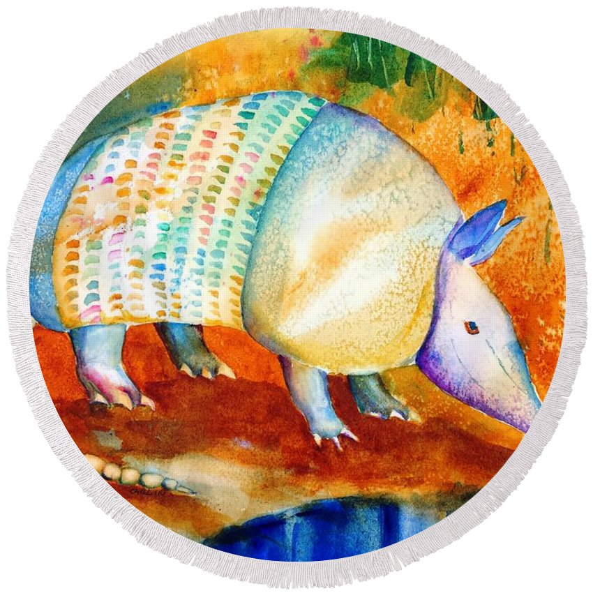Armadillo Round Beach Towel featuring the painting Armadillo Reflections by Carlin Blahnik CarlinArtWatercolor