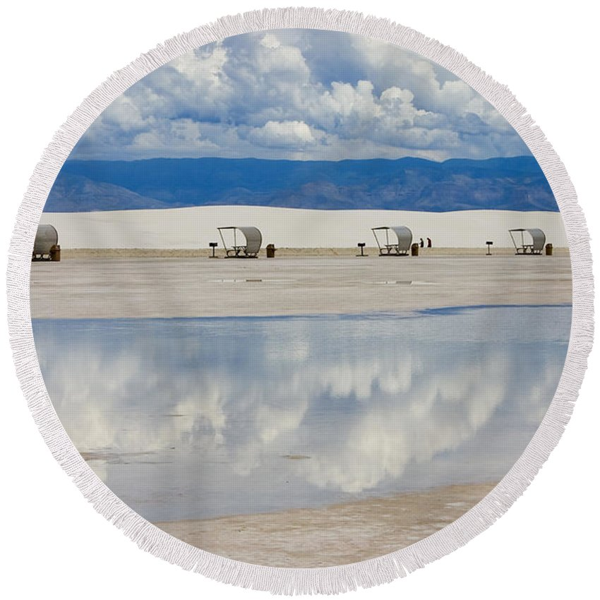 New Mexico Round Beach Towel featuring the photograph Armageddon Picnic by Skip Hunt