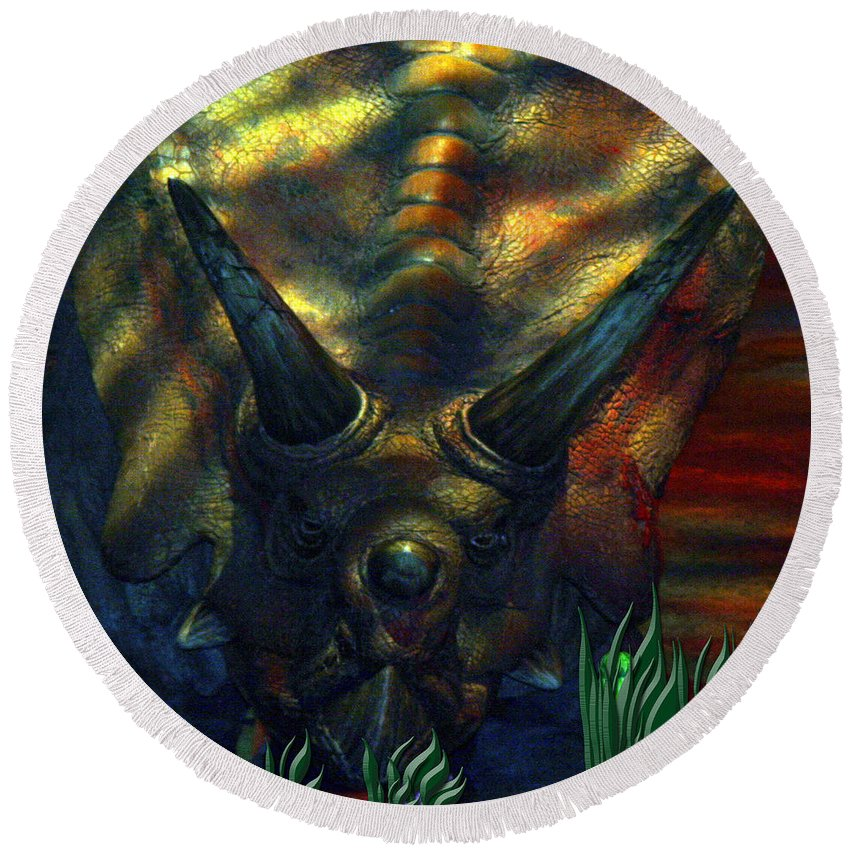 Dinosaur Armour Triceratops Extinct Dinosaurs Herbivorous Cretaceous Period Round Beach Towel featuring the photograph Armour Plated by Andrea Lawrence
