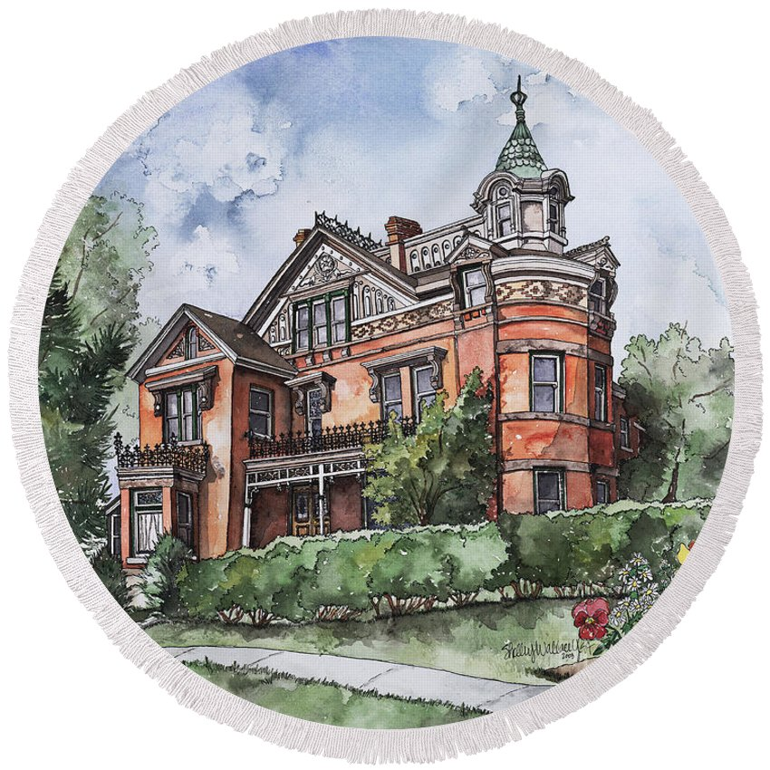 Victorian Round Beach Towel featuring the painting Armstrong Mansion by Shelley Wallace Ylst