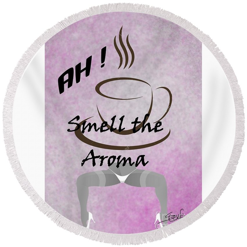Round Beach Towel featuring the digital art Aroma 2 by S Robinson
