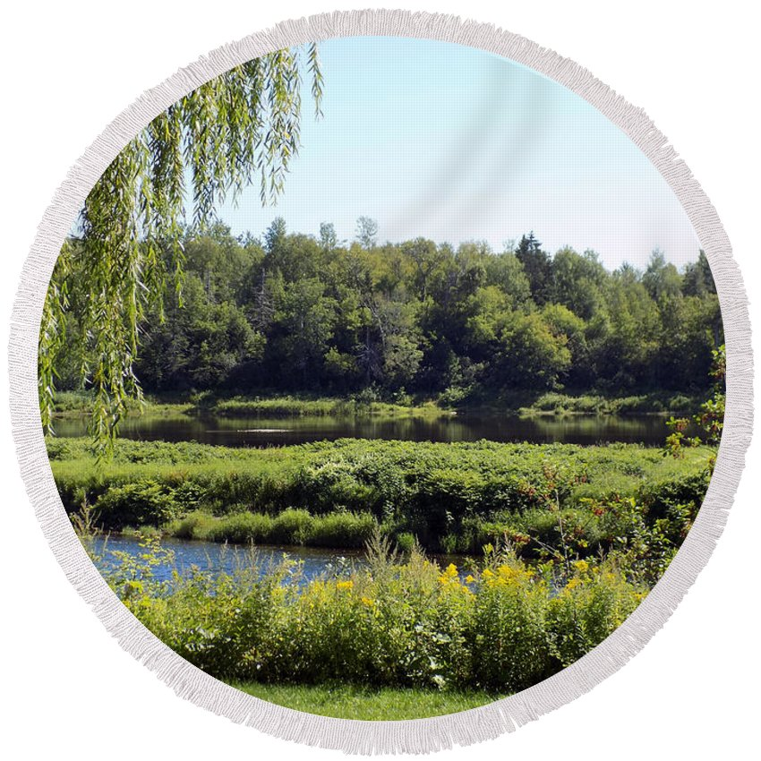 Landscape Round Beach Towel featuring the photograph Aroostook River Landscape by William Tasker
