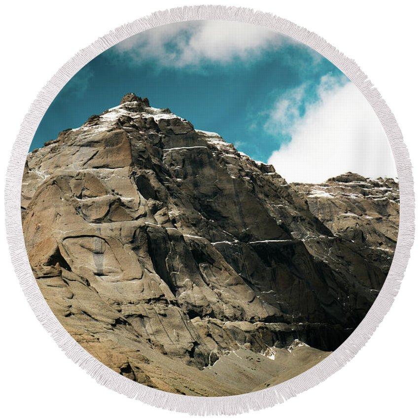 Tibet Round Beach Towel featuring the photograph Around Holy Kailas Himalayas Tibet Yantra.lv by Raimond Klavins