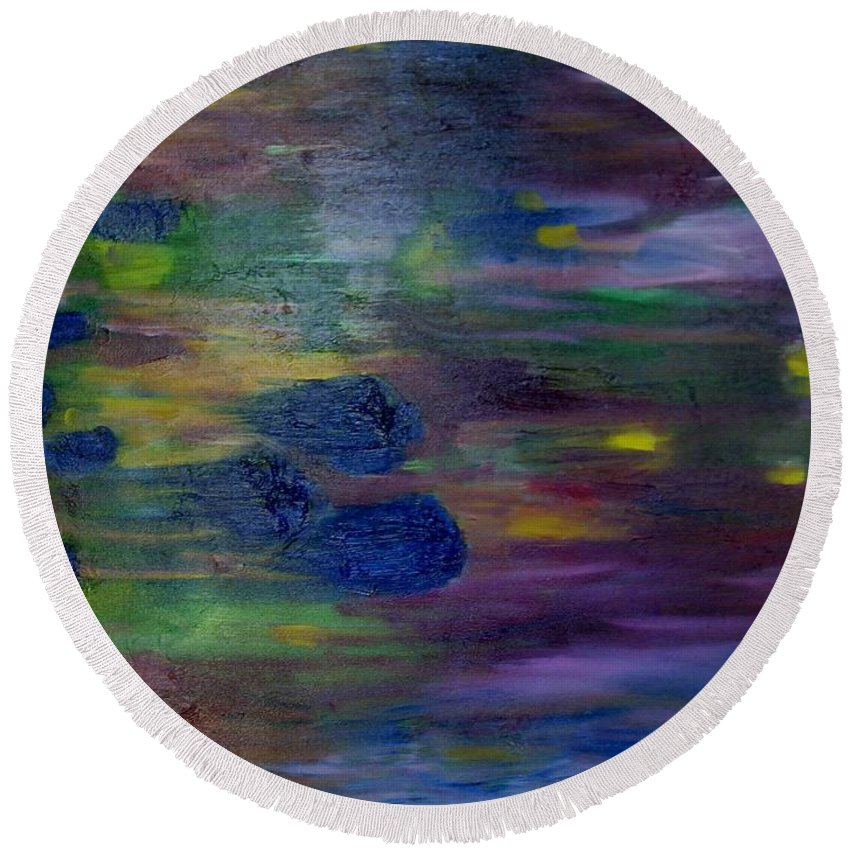 Abstract Round Beach Towel featuring the painting Around The Worlds by Laurie Morgan