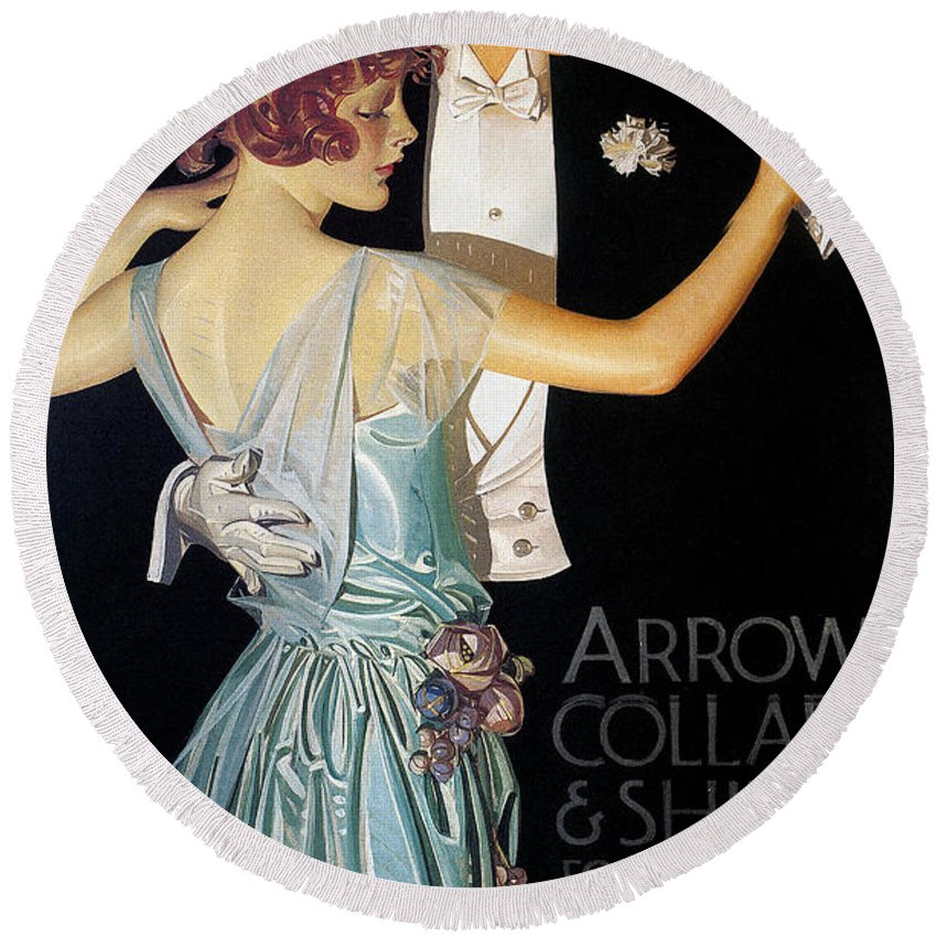 1923 Round Beach Towel featuring the photograph Arrow Shirt Collar Ad, 1923 by Granger