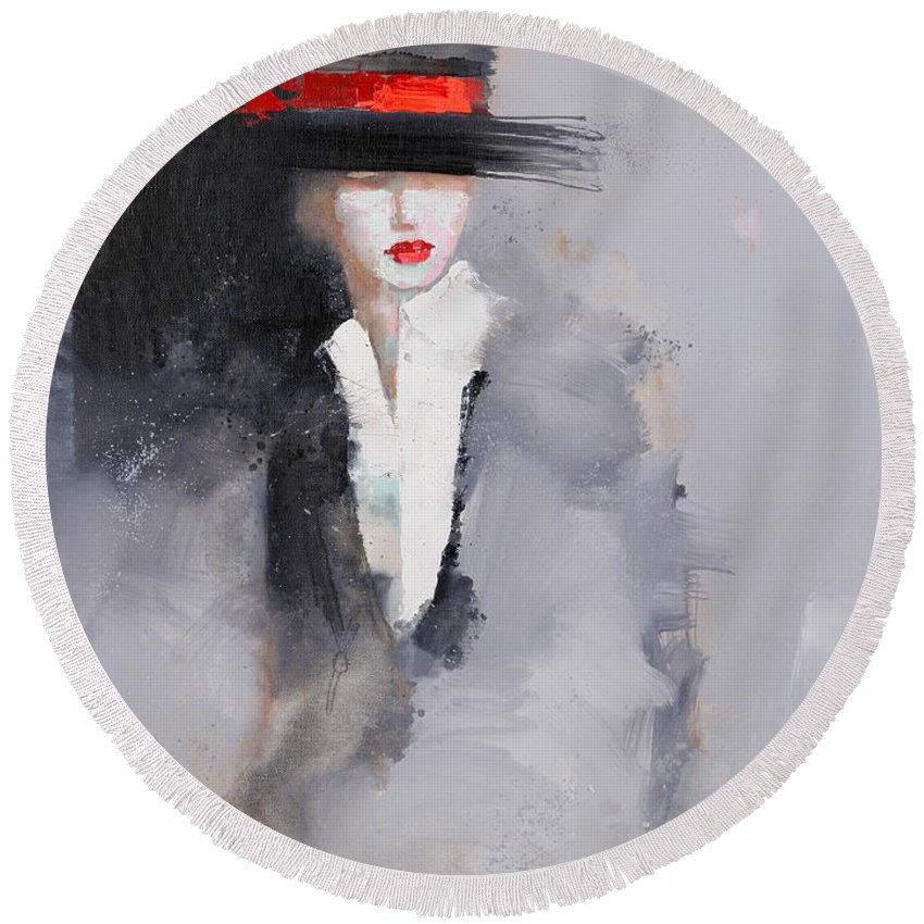 Girl Round Beach Towel featuring the painting Photographed by Viktor Sheleg