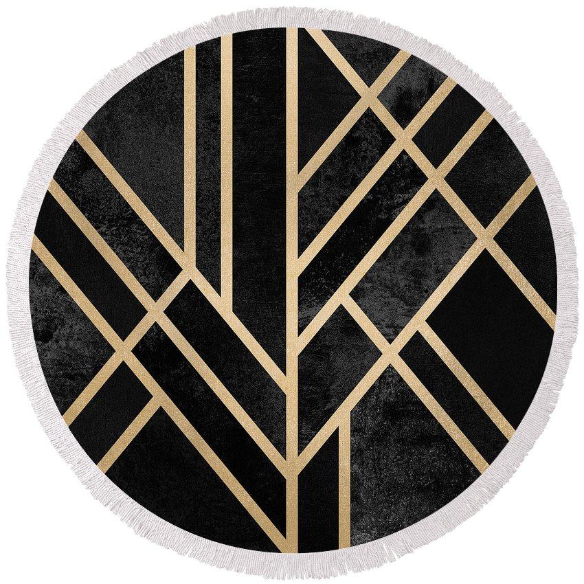 Digital Round Beach Towel featuring the digital art Art Deco Black by Elisabeth Fredriksson