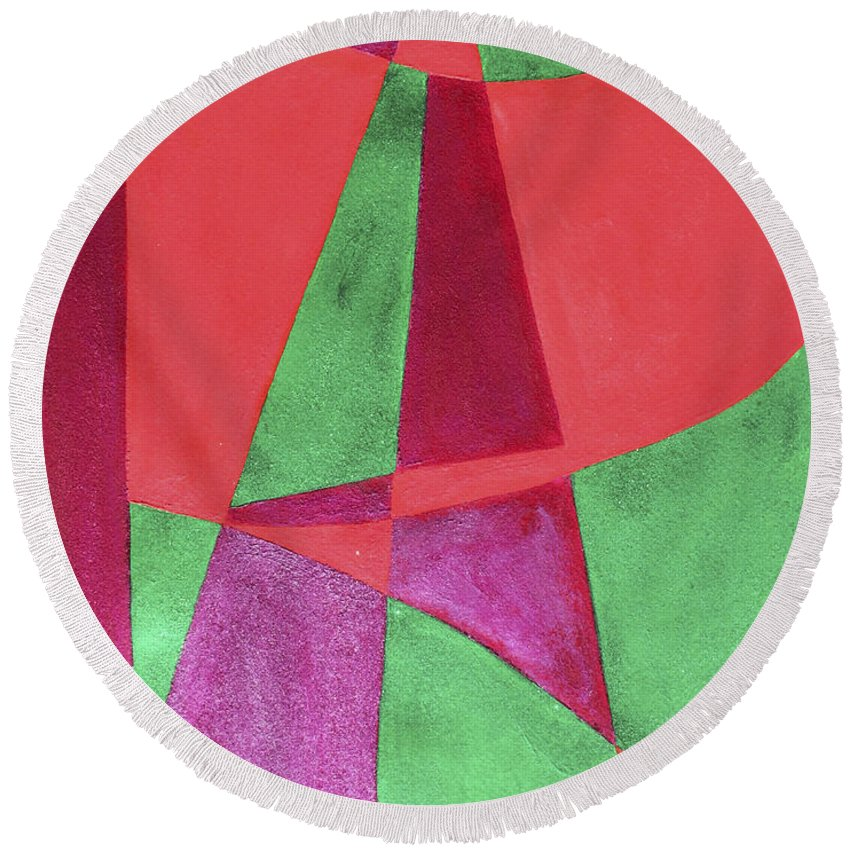 Abstract Round Beach Towel featuring the painting Art Painted In Abstract by Lee Serenethos