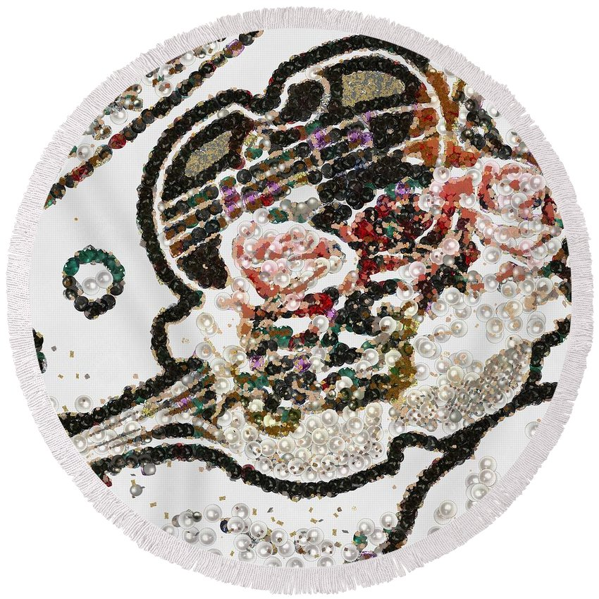 Art Violin And Roses Pearlesqued In Fragments Round Beach Towel featuring the painting Art Violin And Roses Pearlesqued In Fragments by Catherine Lott