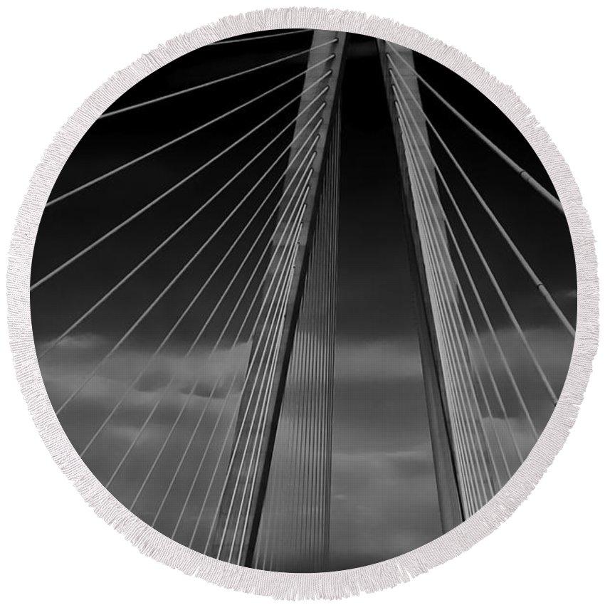 Bridge Round Beach Towel featuring the photograph Arthur Ravenel Jr Bridge by DigiArt Diaries by Vicky B Fuller