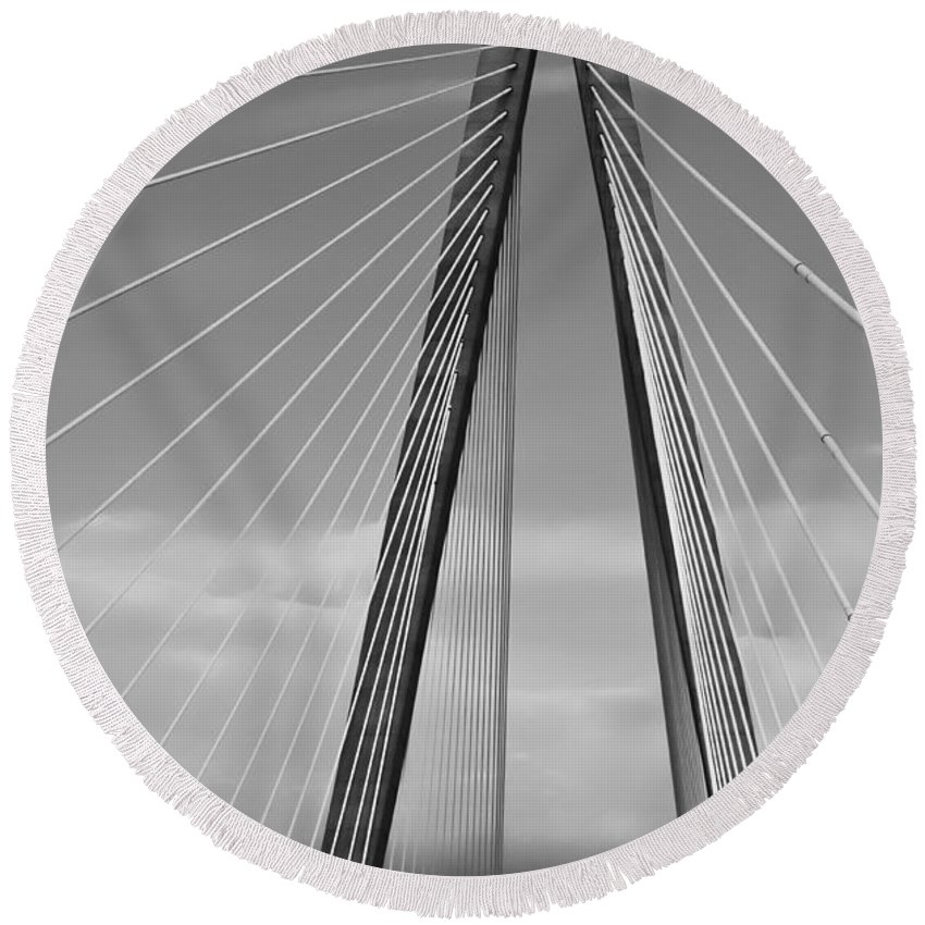 Bridge Round Beach Towel featuring the photograph Arthur Ravenel Jr Bridge II by DigiArt Diaries by Vicky B Fuller