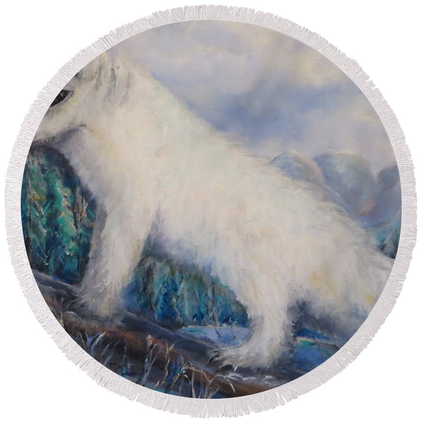 Artic Round Beach Towel featuring the painting Artic Fox by Bernadette Krupa