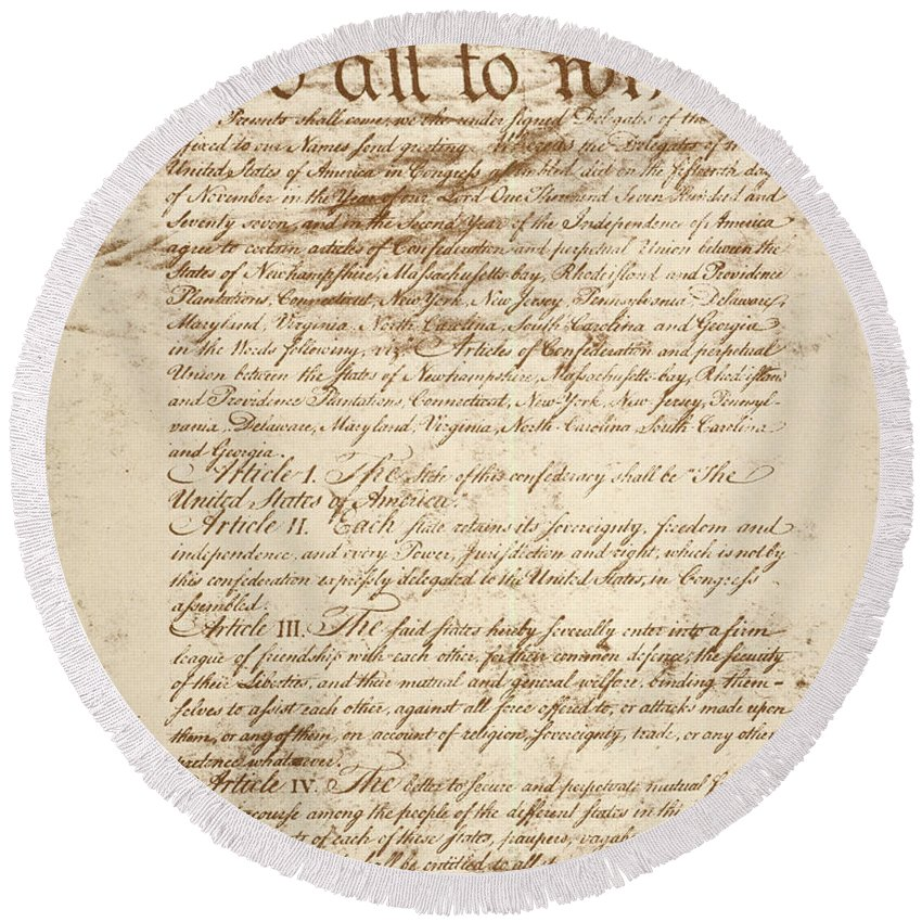 1778 Round Beach Towel featuring the photograph Articles Of Confederation by Granger