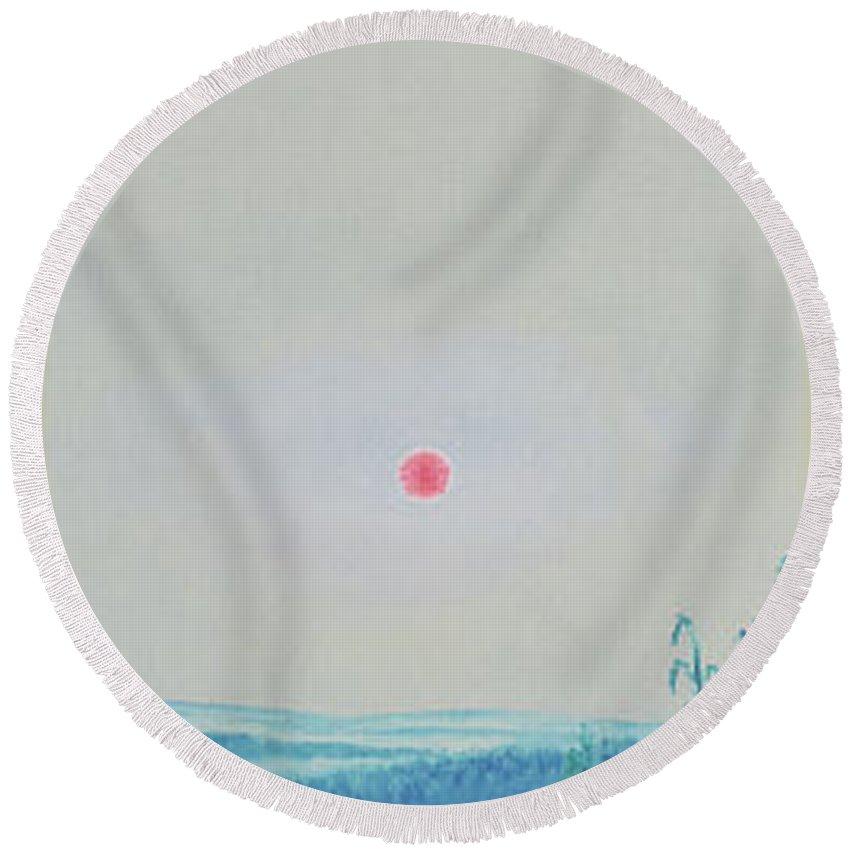 Sky Round Beach Towel featuring the painting Artist Caspar David Friedrich by Oleg Konin