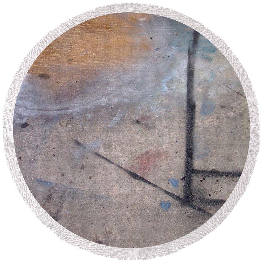 Artist Round Beach Towel featuring the photograph Artist Sidewalk 2 by Anita Burgermeister