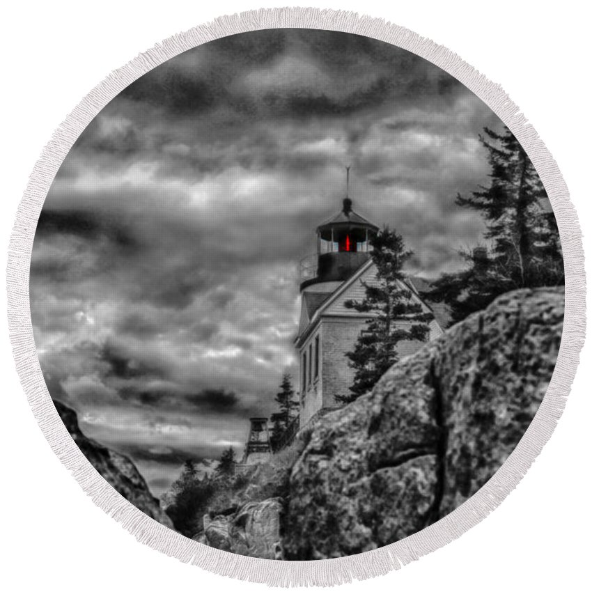 Round Beach Towel featuring the photograph Artistic Bass Harbor Lighthouse In Acadia by Jeff Folger