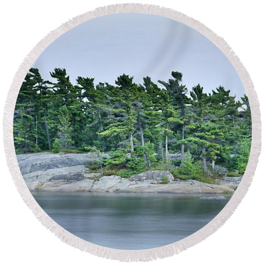 Canada Round Beach Towel featuring the photograph Artistic Granite And Trees by Phill Doherty