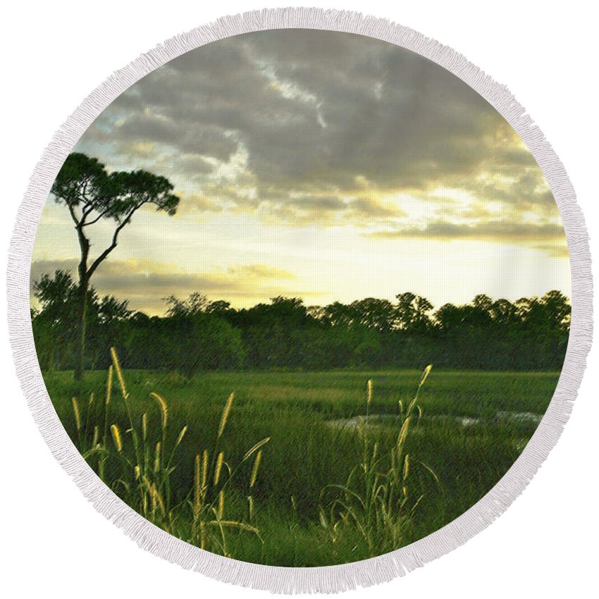 Sunrise Round Beach Towel featuring the photograph Artistic Lush Marsh by Phill Doherty