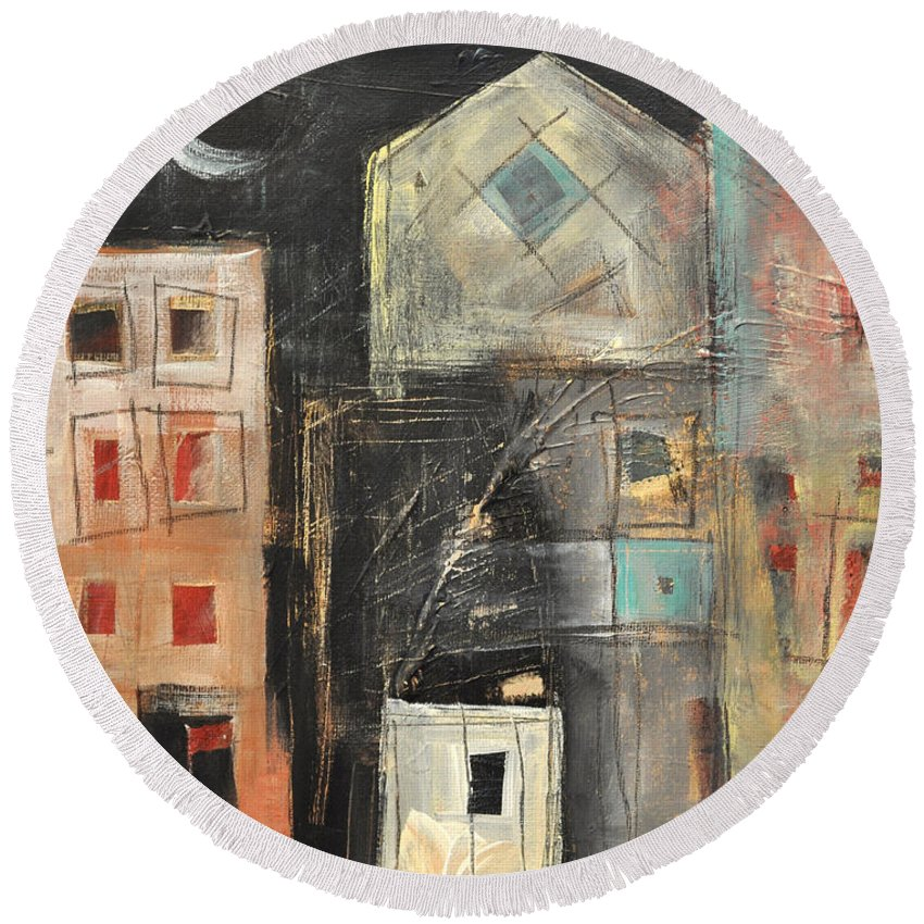 City Round Beach Towel featuring the painting Artists Lofts by Tim Nyberg