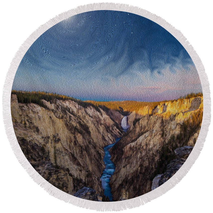 Moon Round Beach Towel featuring the photograph Artist's Point Sunrise by Mikeal Beland