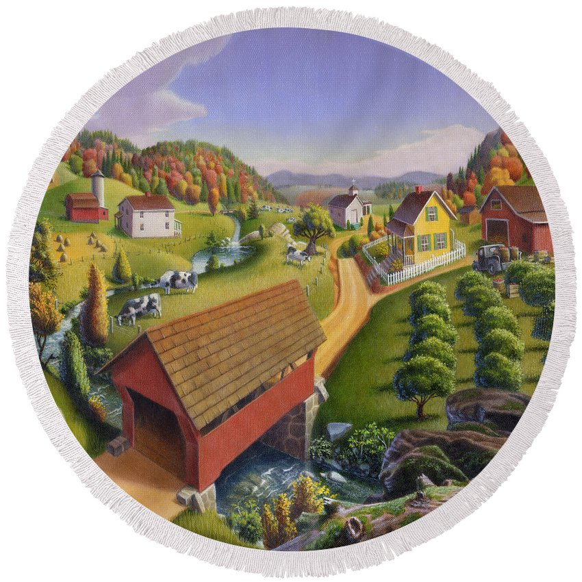 Covered Bridge Round Beach Towel featuring the painting Folk Art Covered Bridge Appalachian Country Farm Summer Landscape - Appalachia - Rural Americana by Walt Curlee