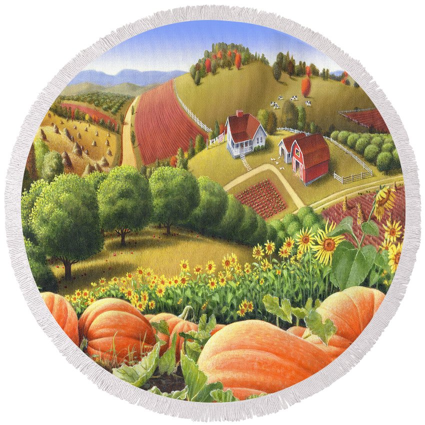 Pumpkin Round Beach Towel featuring the painting Farm Landscape - Autumn Rural Country Pumpkins Folk Art - Appalachian Americana - Fall Pumpkin Patch by Walt Curlee