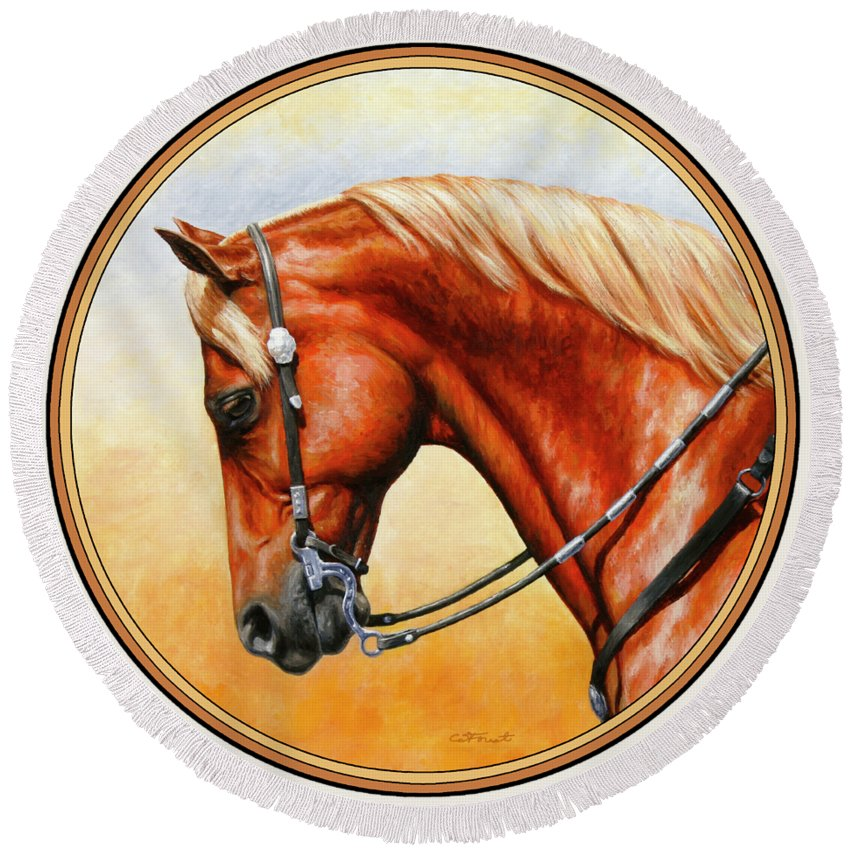 Horse Round Beach Towel featuring the painting Precision - Horse Painting by Crista Forest