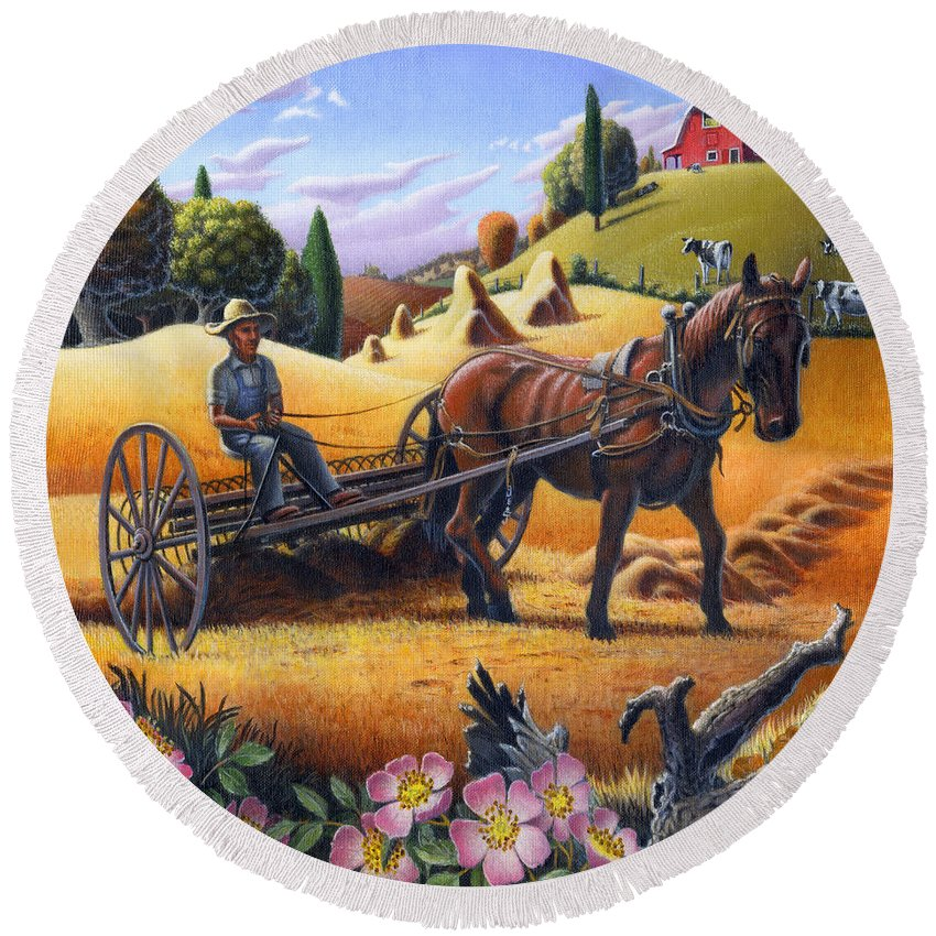 Raking Hay Round Beach Towel featuring the painting Raking Hay Field Rustic Country Farm Folk Art Landscape by Walt Curlee