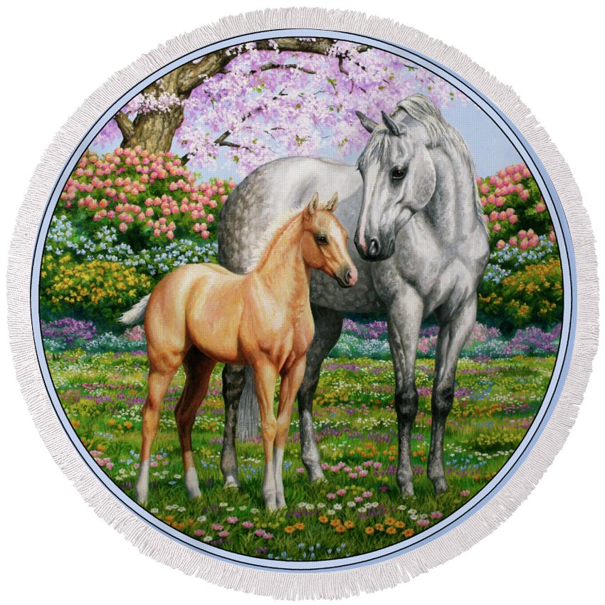 Horse Round Beach Towel featuring the painting Spring's Gift - Mare And Foal by Crista Forest