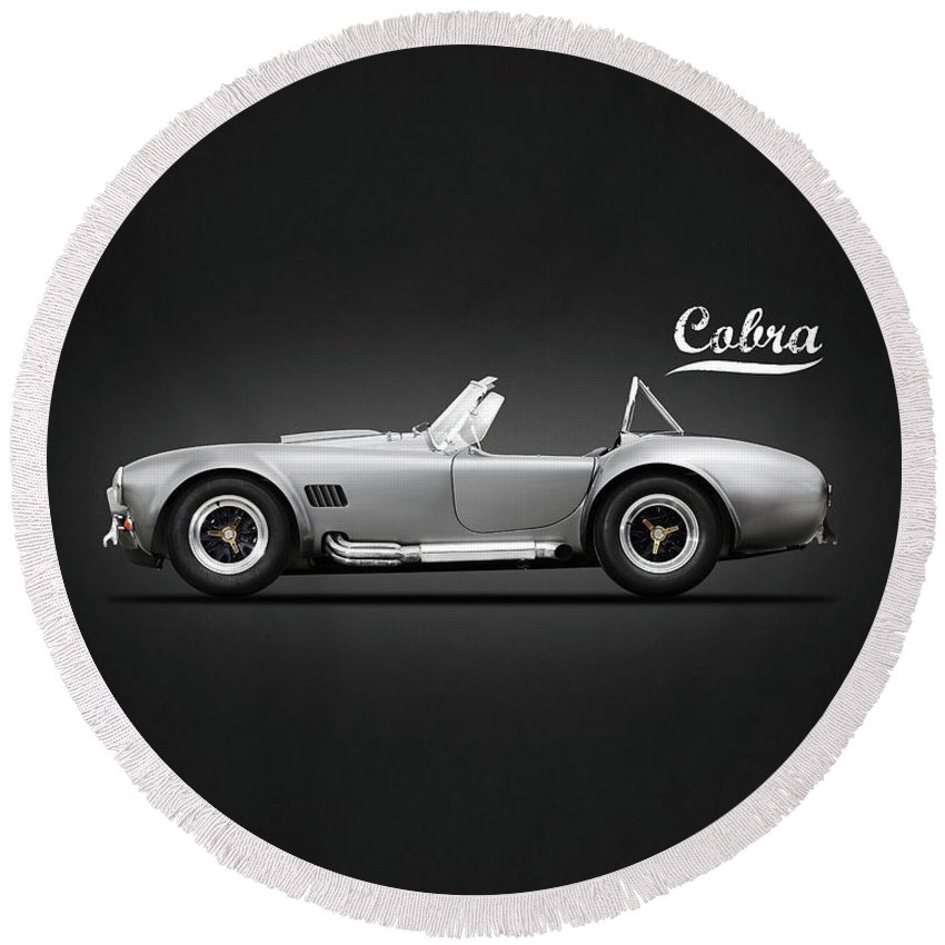 Shelby Cobra Round Beach Towel featuring the photograph Shelby Cobra 427 Sc 1965 by Mark Rogan