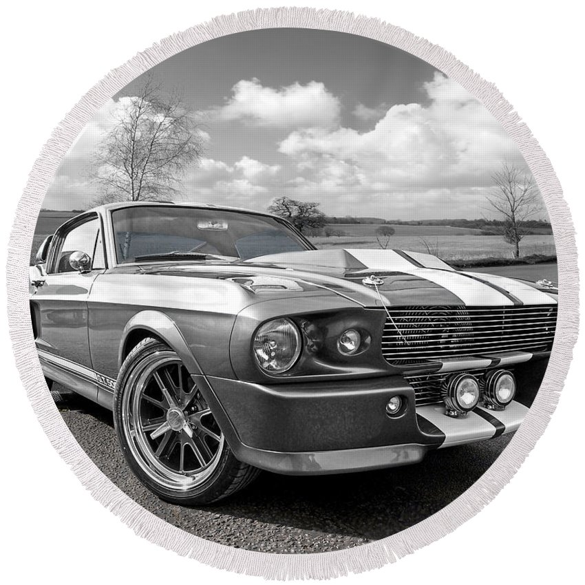 Ford Mustang Round Beach Towel featuring the photograph 1967 Eleanor Mustang In Black And White 1967 by Gill Billington