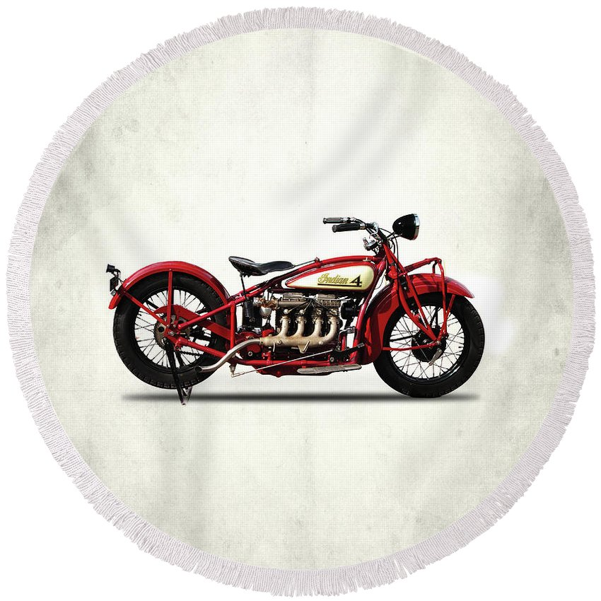Indian 401 Round Beach Towel featuring the photograph Indian 401 1928 by Mark Rogan