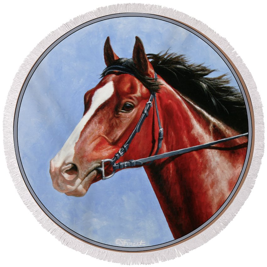 Horse Round Beach Towel featuring the painting Horse Painting - Determination by Crista Forest