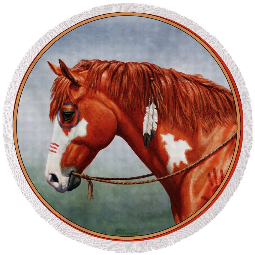 Horse Round Beach Towel featuring the painting Native American War Horse by Crista Forest
