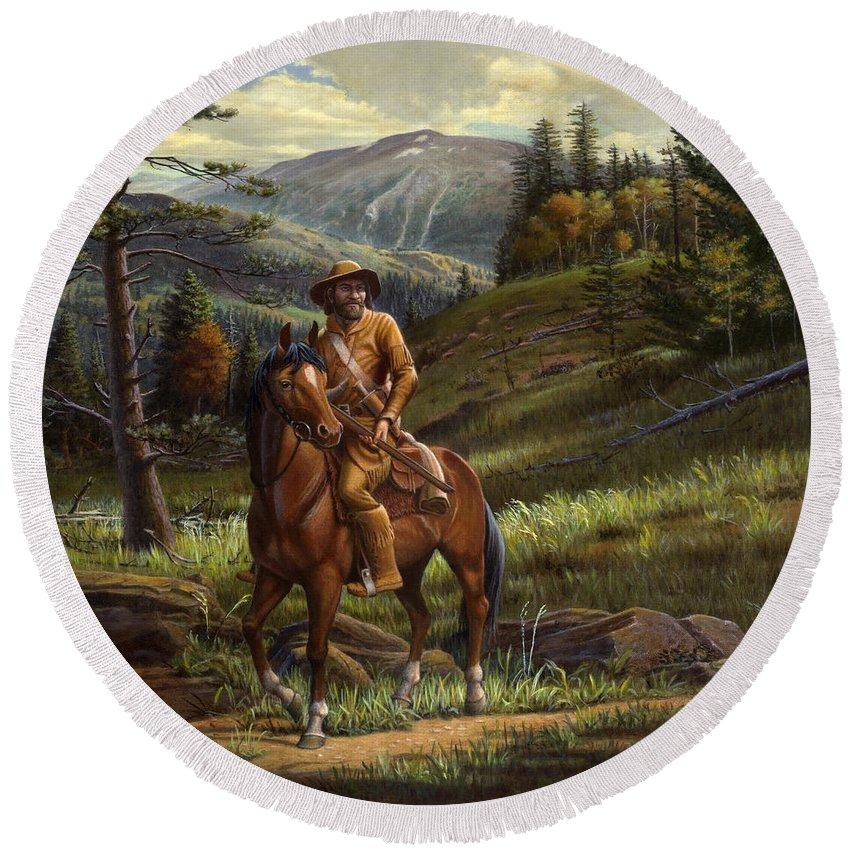 Jim Bridger Round Beach Towel featuring the painting Jim Bridger - Mountain Man - Frontiersman - Trapper - Wyoming Landscape by Walt Curlee