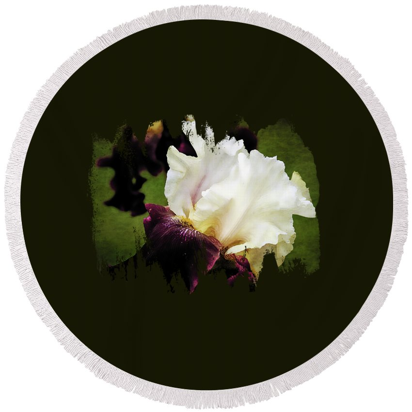 Floral Wall Art Round Beach Towel featuring the photograph Purple And White Iris by Thom Zehrfeld